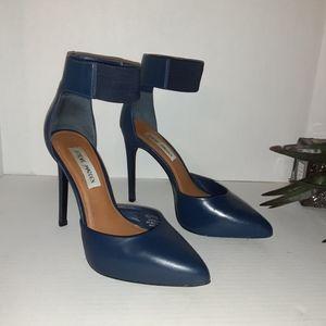 """Steve Madden """"Flutter"""" Blue Leather Ankle Heels"""